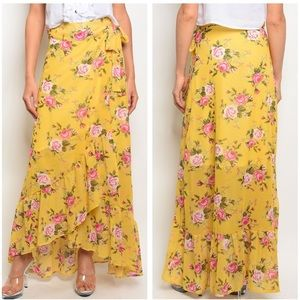 ❌CLEARANCE❌ Floral Wrap High Low Maxi Skirt